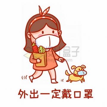 卡通女孩遛狗购物出门一定戴口罩png免抠图片素材