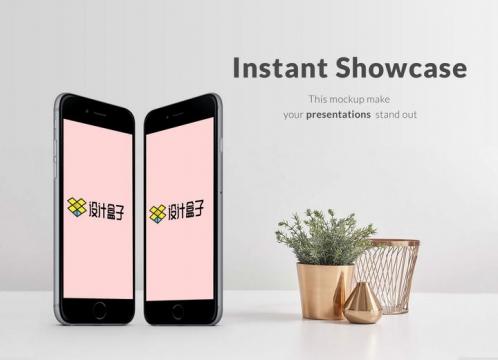 竖直放置的两个黑色苹果iphone手机屏幕内容界面展示样机素材