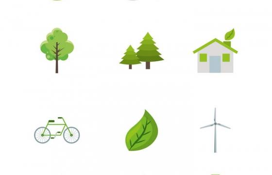 12款绿色环保主题的图标图片免抠素材