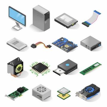 16款3D立体电脑硬盘连接线主板风扇内存CPU显卡等电脑配件png图片免抠矢量素材