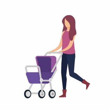 扁平化风格推着婴儿车的年轻妈妈png图片免抠素材