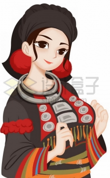 卡通德昂族少女传统服饰少数民族png图片免抠素材