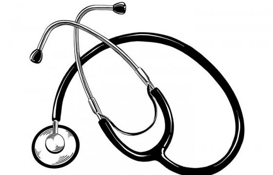 黑白手绘风格听诊器医学用品图片免抠素材