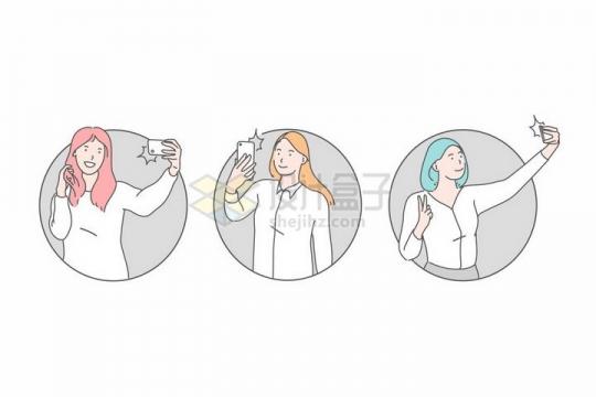 各种用手机自拍的女孩子线条插画png图片免抠素材