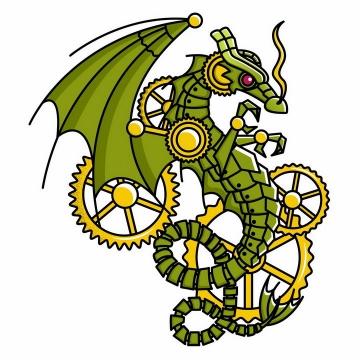蒸汽朋克风格的齿轮机械绿色飞龙png图片免抠矢量素材