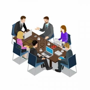 2.5D风格围坐在会议桌前开会的商务人士png图片免抠矢量素材