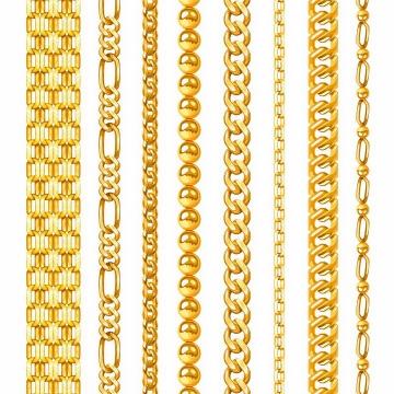8款各种不同形状的金项链png图片免抠矢量素材
