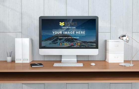 苹果电脑屏幕显示样机PSD图片模板