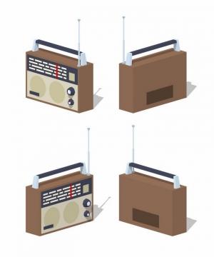 4个不同角度的2.5D风格复古收音机png图片免抠矢量素材