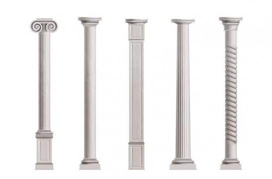 5款希腊风格灰白色大理石柱子图片免抠素材