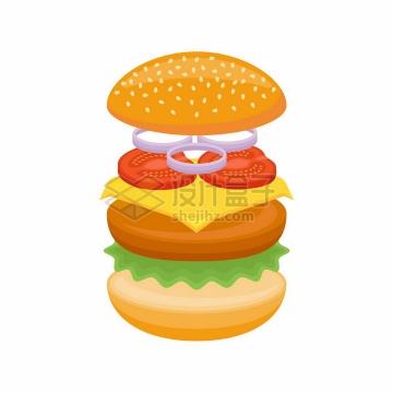 汉堡包的分层结构png图片素材