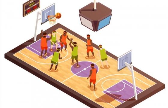 2.5D风格正在进行篮球比赛的篮球场图片免抠素材