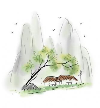 中国风彩色水墨画风格山脚下的两间草屋图片免抠素材