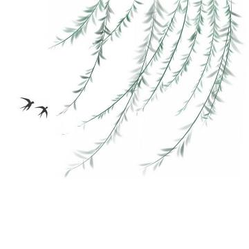 彩绘风格飘舞的柳树柳枝和小燕子png图片免抠素材
