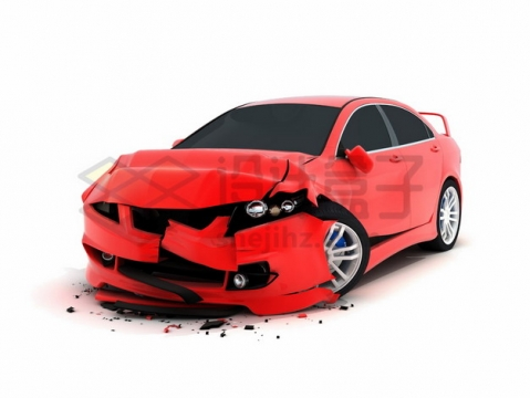 车祸现场被撞坏的红色汽车1765322png图片素材