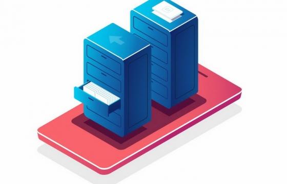 抽象手机上的文件柜象征了在线文件管理器云数据存储器云计算技术png图片免抠矢量素材