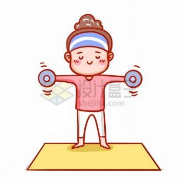 站在瑜伽垫上锻炼身体的卡通女孩653232png免抠图片素材