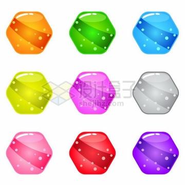 圆润的六边形游戏宝石png图片免抠素材