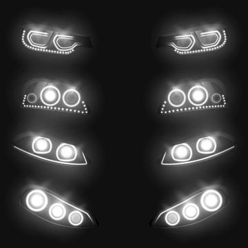 4款白色黑暗中发光的汽车车头大灯图片免抠素材