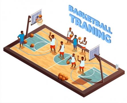 2.5D风格正在进行比赛的篮球运动图片免抠素材
