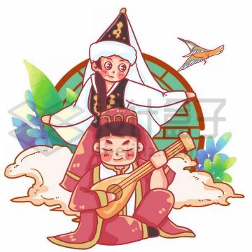 Q版卡通哈萨克族少女少年传统服饰少数民族png图片免抠素材