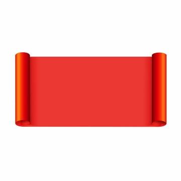 卷曲的红色复古卷轴png免抠图片