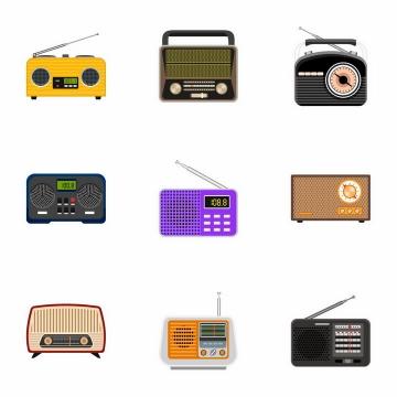 9款卡通收音机录音机等复古家用电器png图片免抠矢量素材