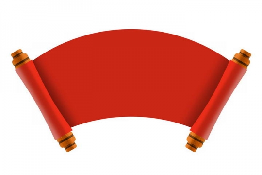 展开的红色复古扇形卷轴png免抠图片