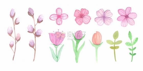 各种不知名小花水彩画花朵花卉png图片免抠矢量素材
