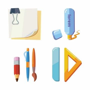 扁平化风格的便签贴纸铅笔圆珠笔直尺三角尺修正液等办公用品png图片免抠矢量素材