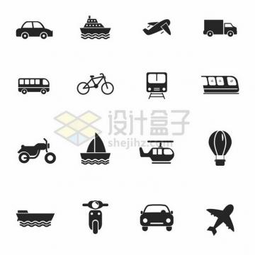 卡通汽车轮船飞机等交通工具图标581163png图片素材