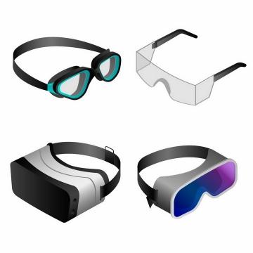4款2.5D风格潜水镜智能眼镜VR眼镜png图片免抠矢量素材