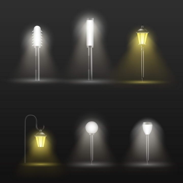 6款黄色白色风格黑夜中发光的路灯图片免抠素材