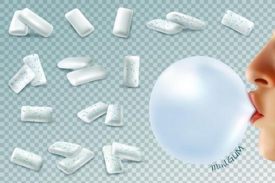 各种口味的口香糖和吹泡泡图片免抠素材