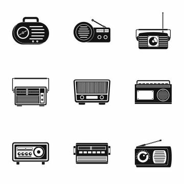 9款黑白色卡通收音机图案png图片免抠矢量素材