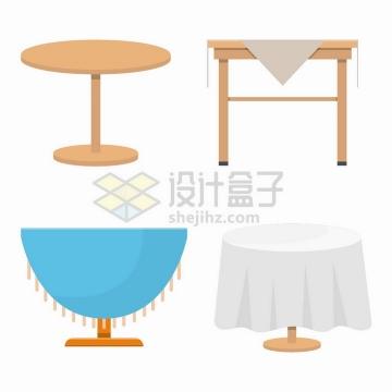 4款圆桌铺了餐布的餐桌厨房家具png图片免抠矢量素材