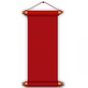 竖直的红色复古卷轴挂轴png免抠图片