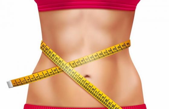 红衣美女纤细的腰部用卷尺缠绕着减肥png图片免抠矢量素材