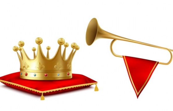 黄金皇冠和仪仗队喇叭图片免抠素材