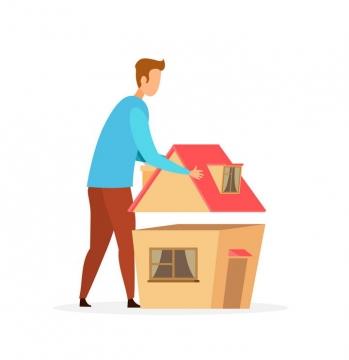 扁平化风格正在盖房子的人房贷图片免抠素材