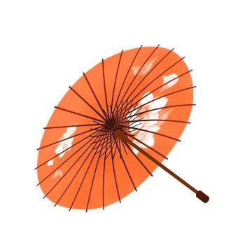 橙色手绘中国风雨伞油纸伞图片免抠素材
