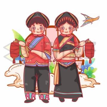 打灯笼的Q版土家族少女少年传统服饰少数民族png图片免抠素材
