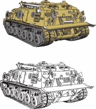 彩绘风格战场救援维修坦克486642png图片素材