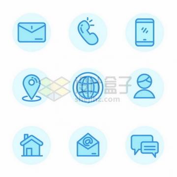 蓝色线条电子邮件电话手机定位等图标103865png图片素材