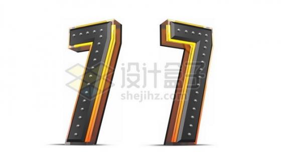 C4D风格黄色黑色3D立体数字七7艺术字体356155psd/png图片素材