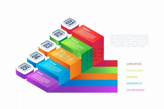 彩色立体数字标签立方体PPT信息图表png图片免抠矢量素材