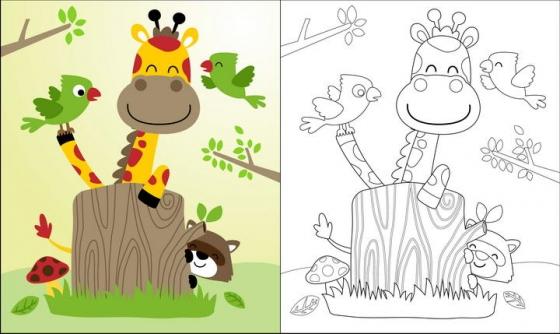 线条涂色对比动物简笔画长颈鹿图片免抠素材