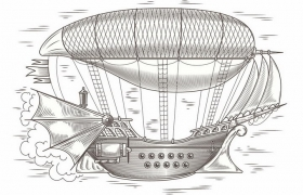 手绘蒸汽朋克风格飞艇飞船png图片免抠矢量素材