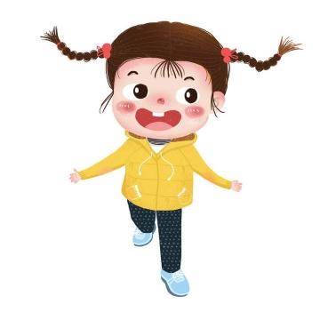手绘卡通可爱穿黄色衣服的小女孩儿童节图片免抠素材