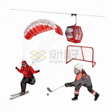 滑雪滑翔伞冰球观光缆车等冬天体育运动水彩插画png图片素材